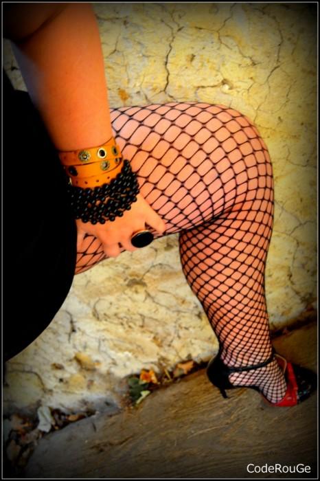Mes jambes sexy en bas résille noir