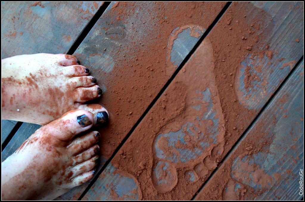 Traces de pieds en chocolats à déguster