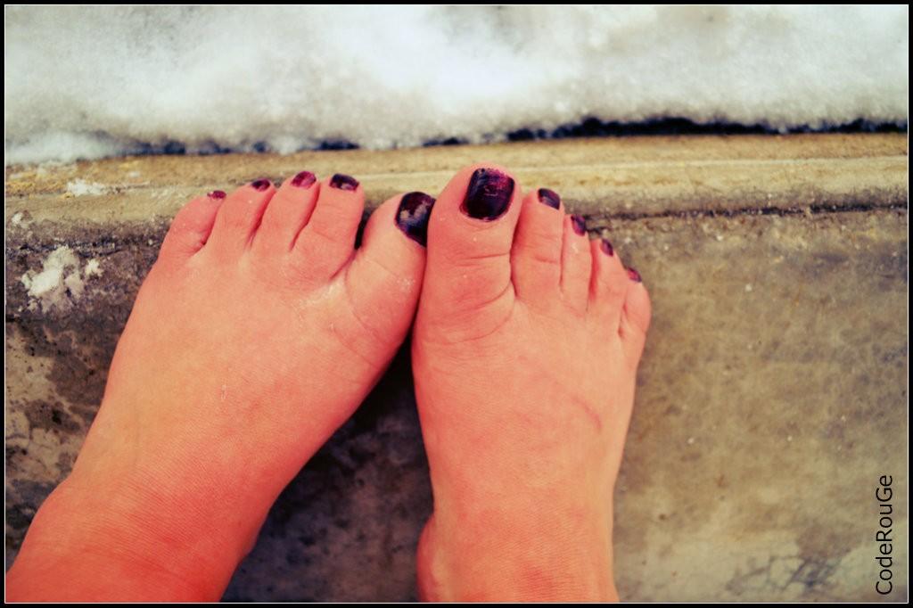 Mes pieds rougis par le froid