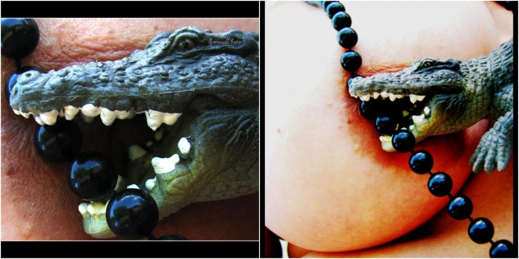 Un téton dans la bouche du croco